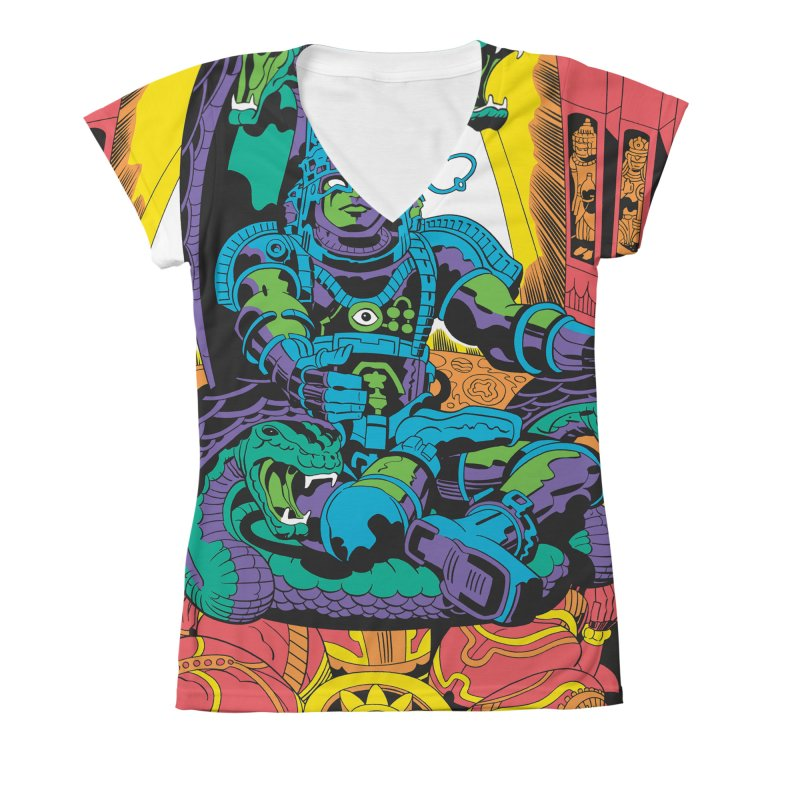 Royal Chambers of Brahma - Jack Kirby and Barry Geller Women's V-Neck All Over Print by Heavy Metal Magazine