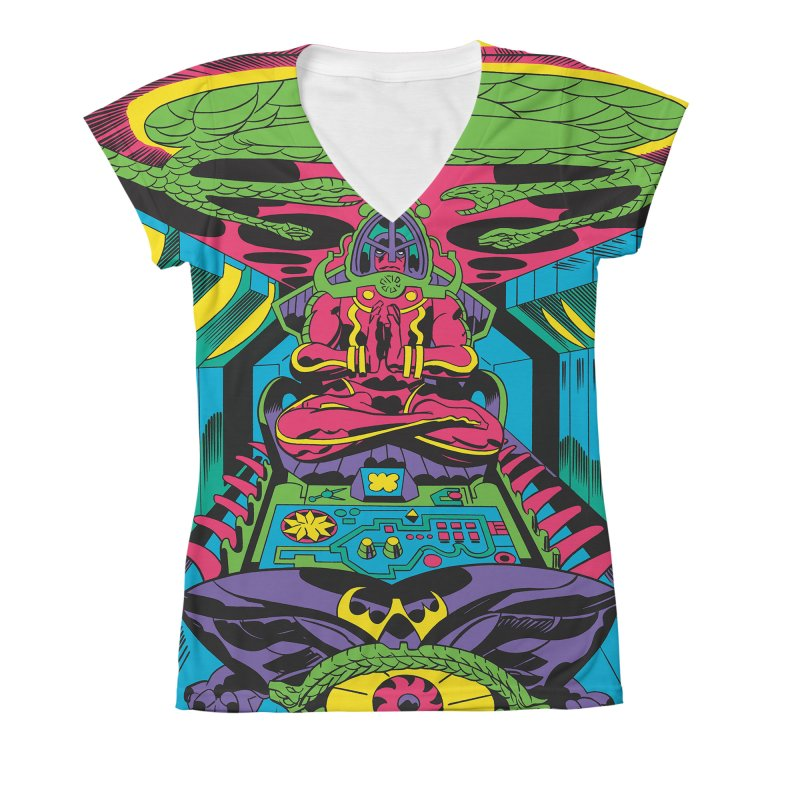 Jet Tube Transporter - Jack Kirby and Barry Geller Women's All-Over Print V-Neck by Heavy Metal Magazine