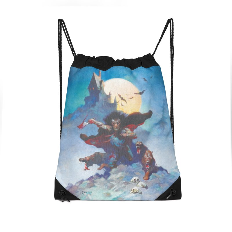 WOLVES NIGHT Accessories Drawstring Bag Bag by Heavy Metal Magazine