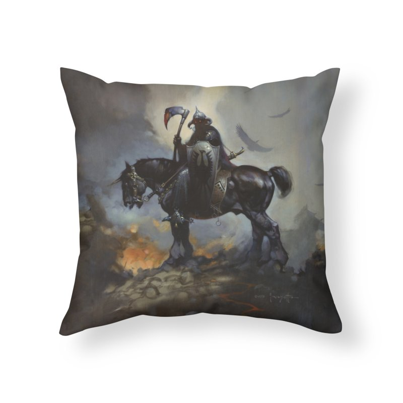Death Dealer in Throw Pillow by Heavy Metal Magazine