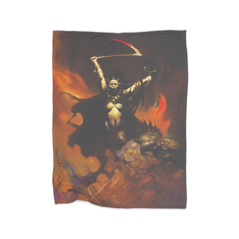 WOMEN WITH A SCYTHE Home Fleece Blanket Blanket by Heavy Metal Magazine