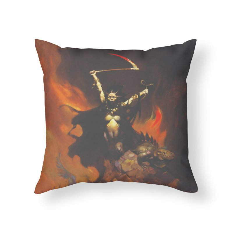 WOMEN WITH A SCYTHE Home Throw Pillow by Heavy Metal Magazine
