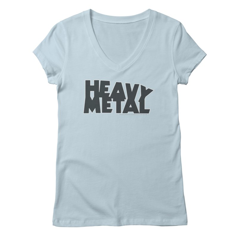 Heavy Metal Black Logo Women's V-Neck by Heavy Metal Magazine