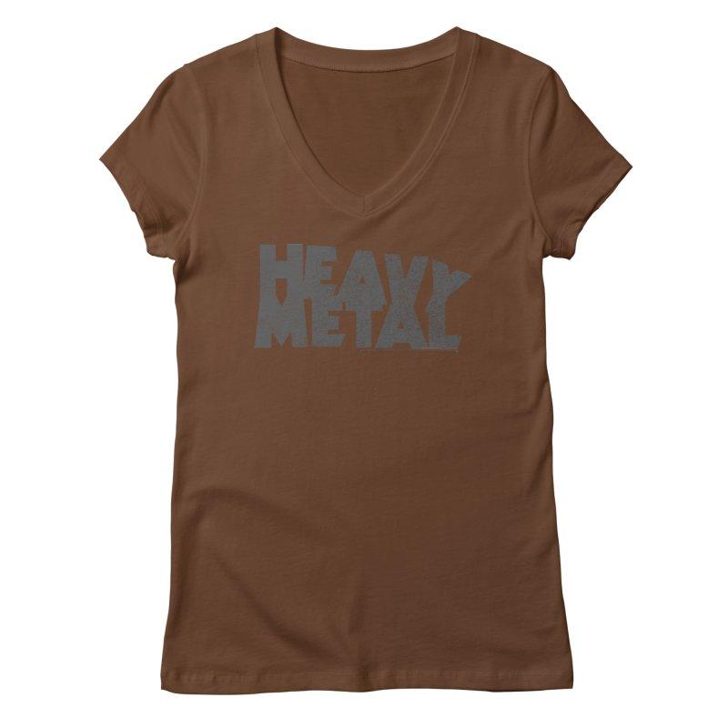 Heavy Metal Distressed Women's Regular V-Neck by Heavy Metal Magazine