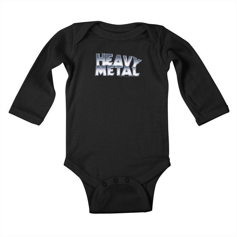 Heavy Metal Chrome Logo v2 Kids Baby Longsleeve Bodysuit by Heavy Metal Magazine