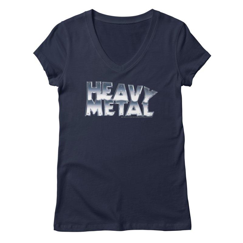 Heavy Metal Chrome Logo v2 Women's V-Neck by Heavy Metal Magazine