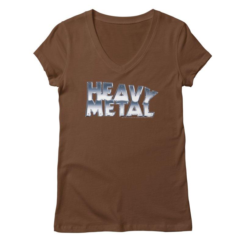 Heavy Metal Chrome Logo v2 Women's Regular V-Neck by Heavy Metal Magazine