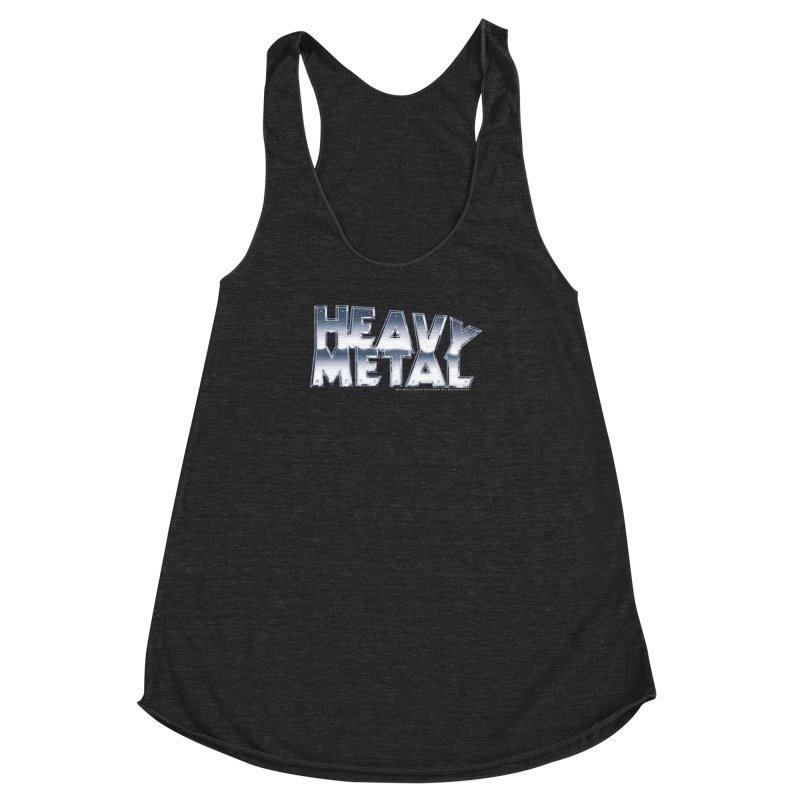 Heavy Metal Chrome Logo v2 Women's Racerback Triblend Tank by Heavy Metal Magazine