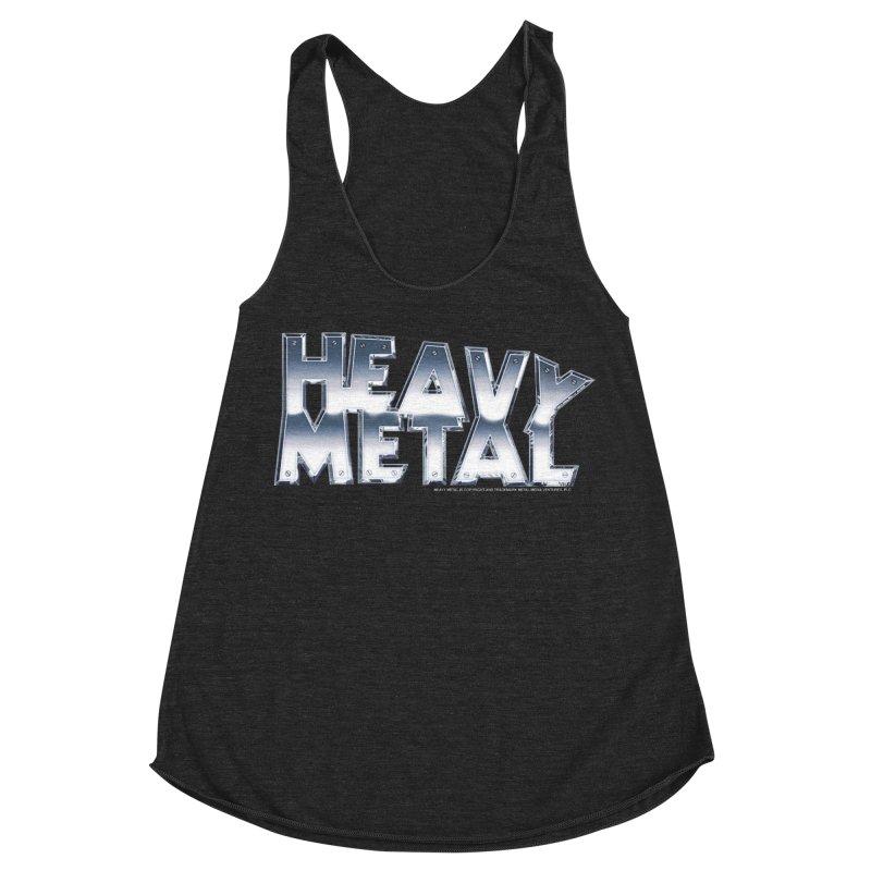 Heavy Metal Chrome Logo v2 Women's Racerback Triblend Tank by Heavy Metal Magazine