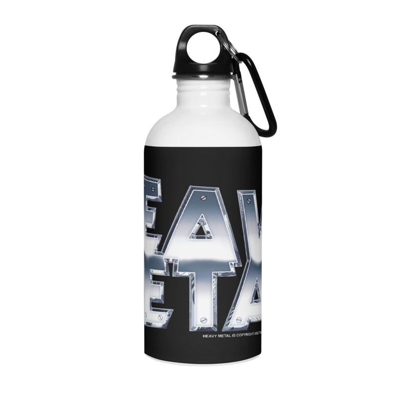 Heavy Metal Chrome Logo v2 Accessories Water Bottle by Heavy Metal Magazine