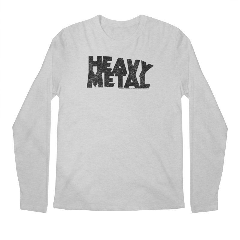 Heavy Metal Black Distressed Logo Men's Regular Longsleeve T-Shirt by Heavy Metal Magazine