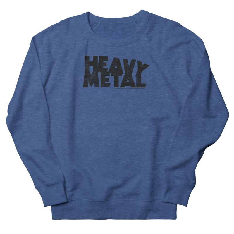 Heavy Metal Black Distressed Logo Women's French Terry Sweatshirt by Heavy Metal Magazine