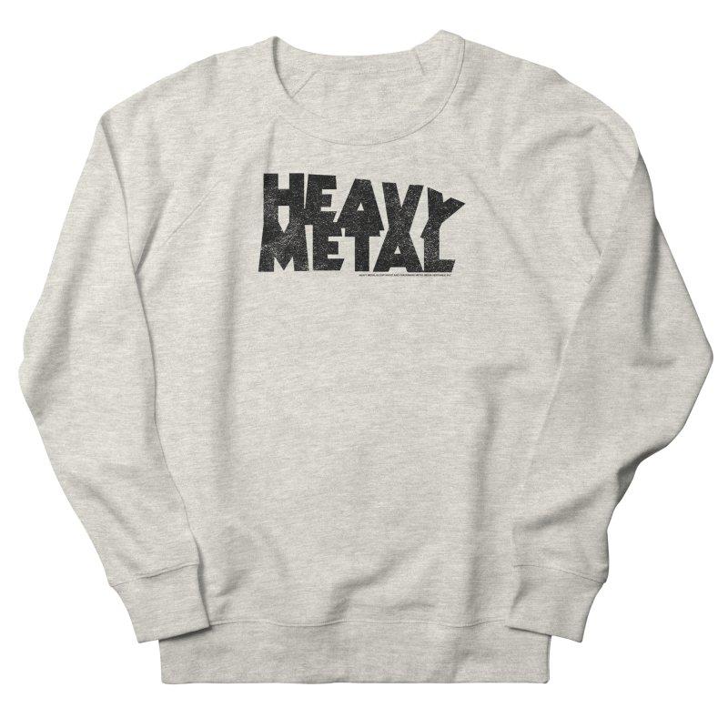 Heavy Metal Black Distressed Logo Men's French Terry Sweatshirt by Heavy Metal Magazine