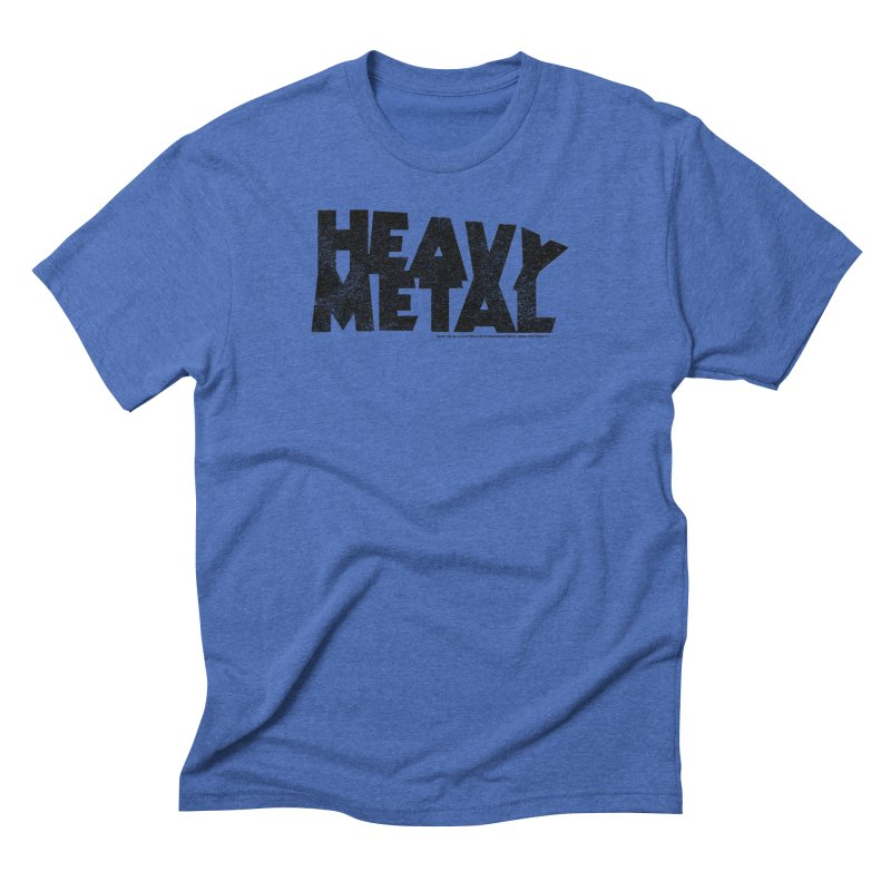 Heavy Metal Black Distressed Logo Men's Triblend T-Shirt by Heavy Metal Magazine