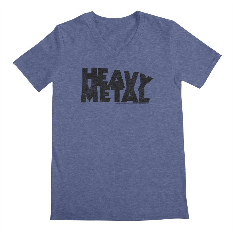 Heavy Metal Black Distressed Logo Men's V-Neck by Heavy Metal Magazine