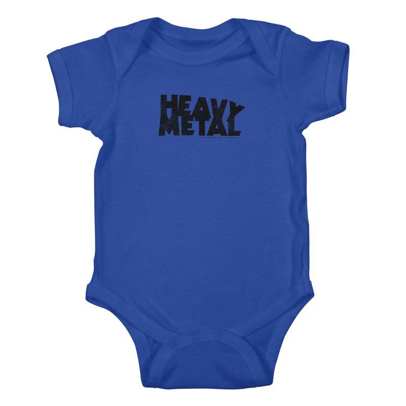 Heavy Metal Black Distressed Logo Kids Baby Bodysuit by Heavy Metal Magazine