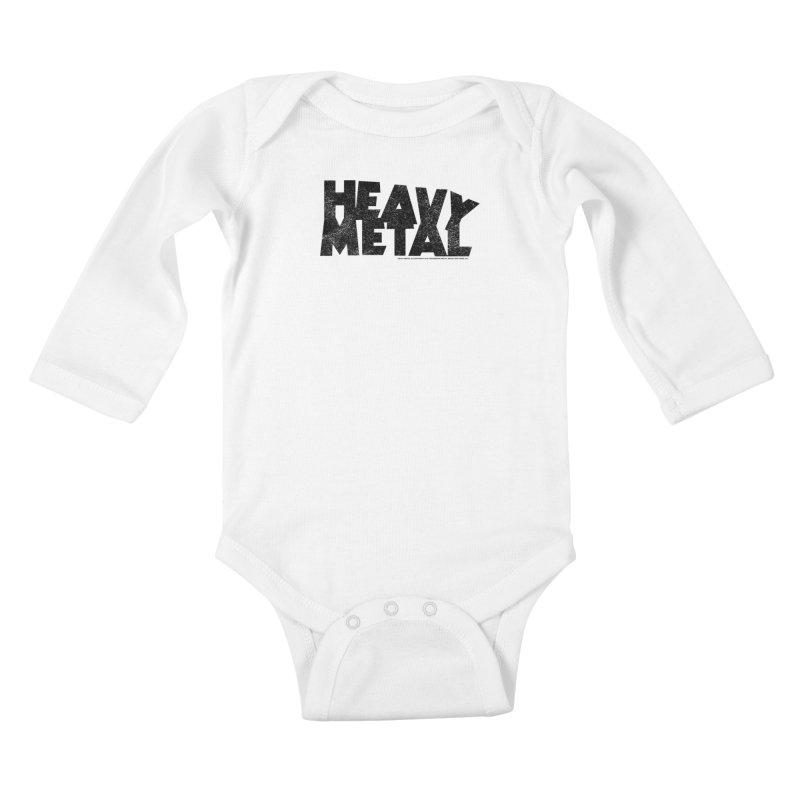 Heavy Metal Black Distressed Logo Kids Baby Longsleeve Bodysuit by Heavy Metal Magazine