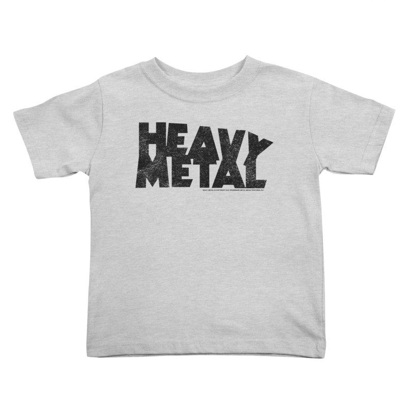 Heavy Metal Black Distressed Logo Kids Toddler T-Shirt by Heavy Metal Magazine