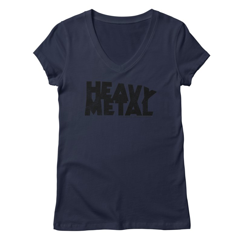 Heavy Metal Black Distressed Logo Women's Regular V-Neck by Heavy Metal Magazine