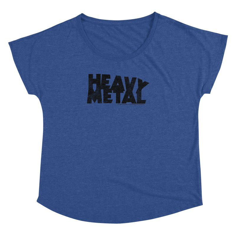 Heavy Metal Black Distressed Logo Women's Dolman Scoop Neck by Heavy Metal Magazine