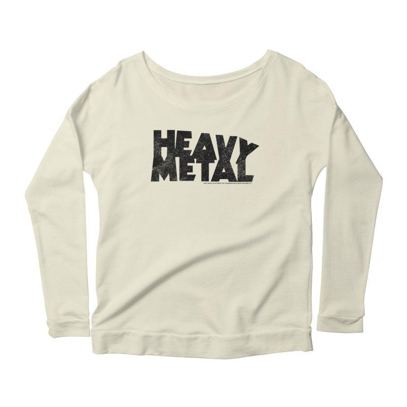 Heavy Metal Black Distressed Logo Women's Scoop Neck Longsleeve T-Shirt by Heavy Metal Magazine
