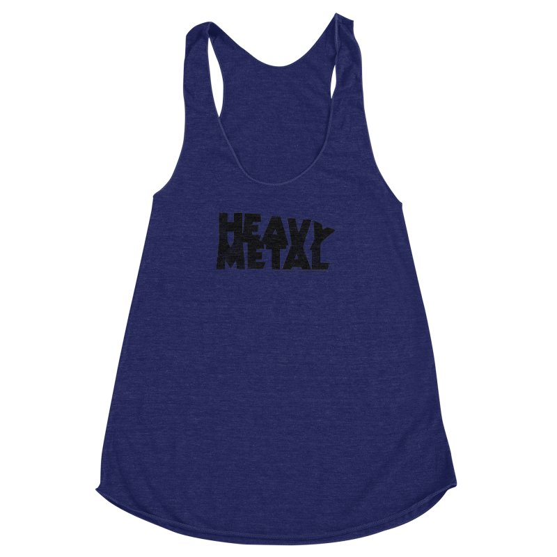 Heavy Metal Black Distressed Logo Women's Racerback Triblend Tank by Heavy Metal Magazine