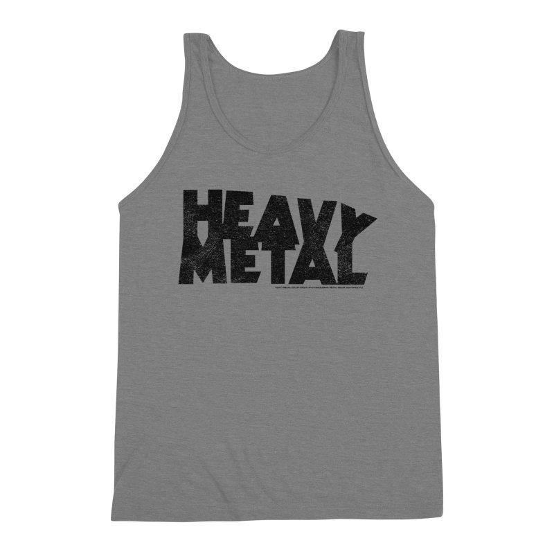 Heavy Metal Black Distressed Logo Men's Triblend Tank by Heavy Metal Magazine