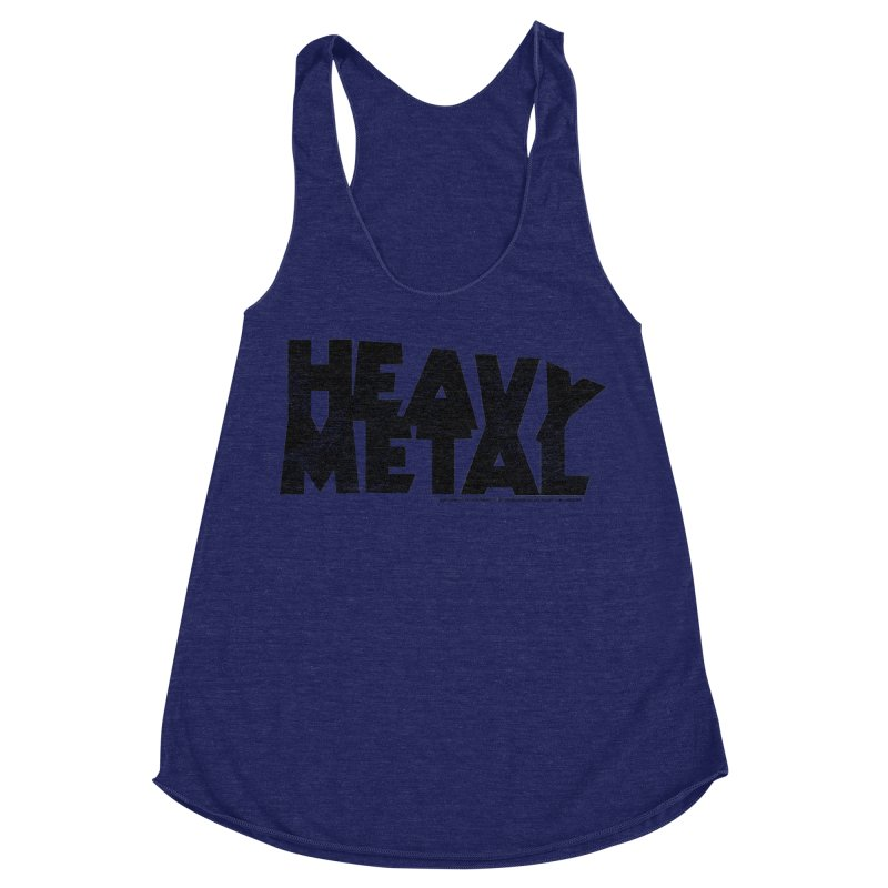 Heavy Metal Black Distressed Logo Women's Racerback Triblend Tank by Heavy Metal Magazine