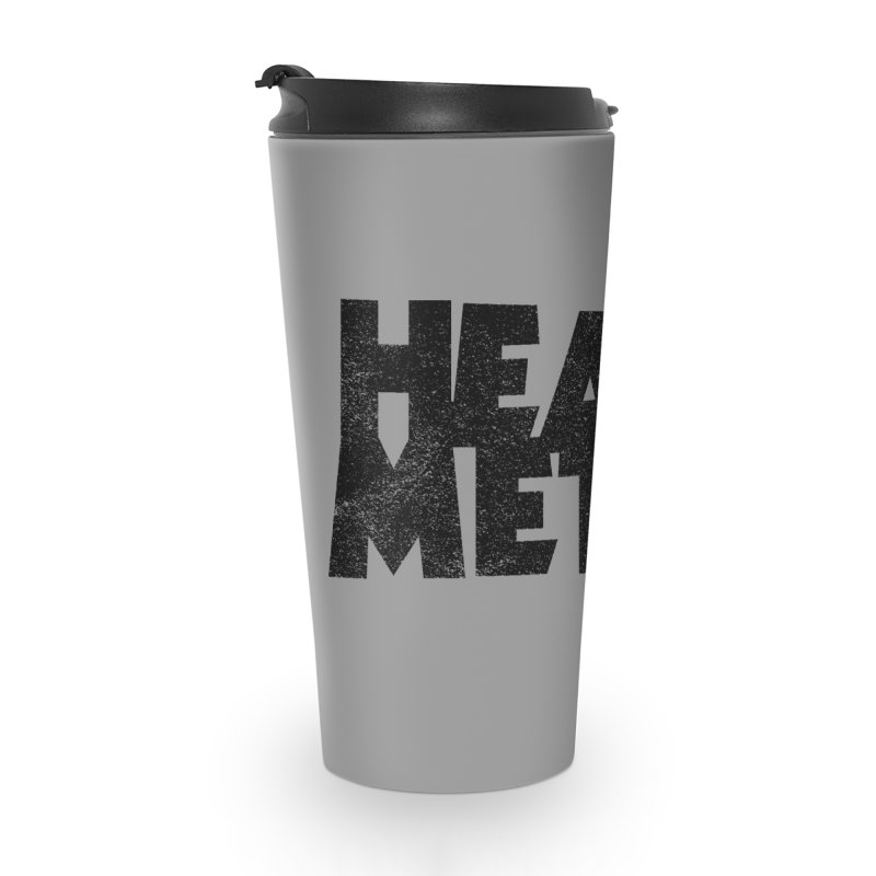 Heavy Metal Black Distressed Logo Accessories Travel Mug by Heavy Metal Magazine