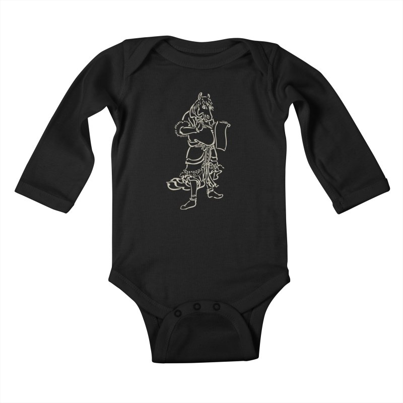 Horse Scholar - Chinese Zodiac Kids Baby Longsleeve Bodysuit by Heidi2524's Artist Shop