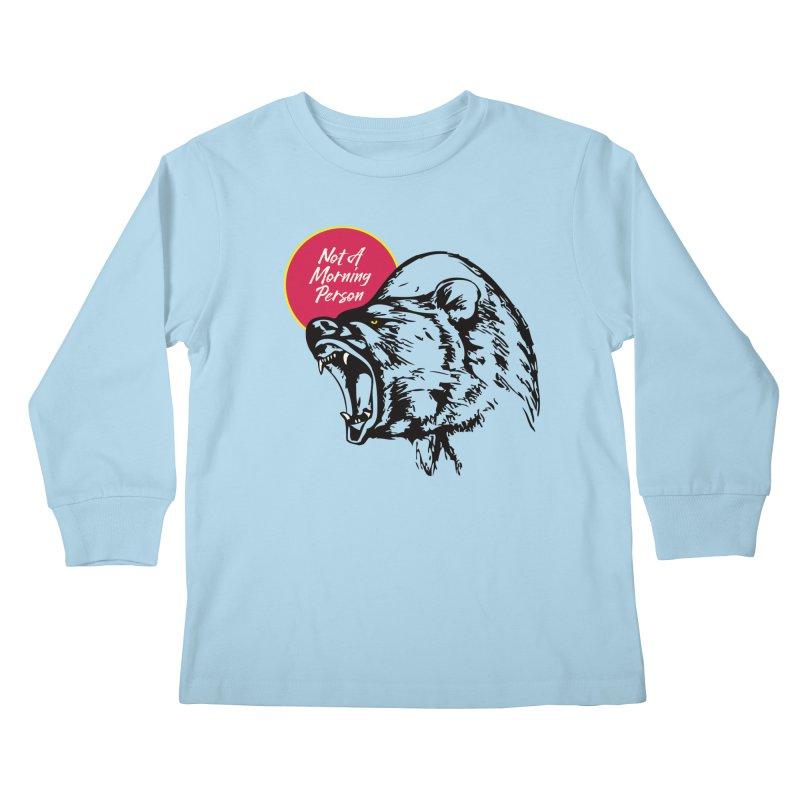 Not A Morning Bear Kids Longsleeve T-Shirt by Heidi2524's Artist Shop