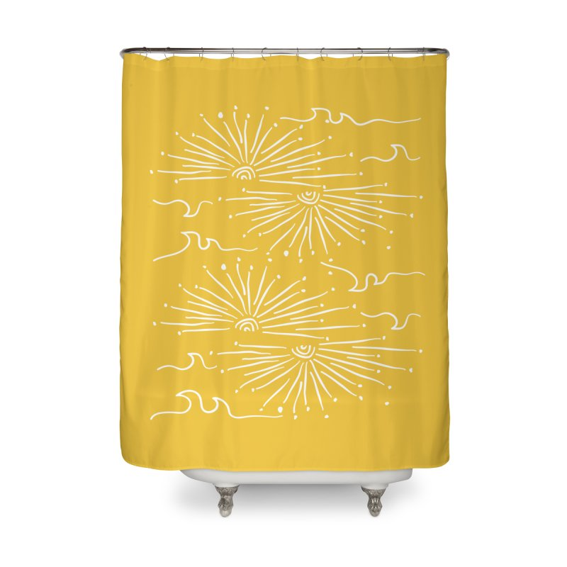 SUNSHINE WAVES Home Shower Curtain by heidig's Shop