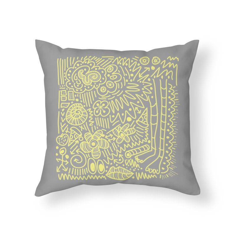 Doodle Therapy Yellow Home Throw Pillow by heidig's Shop
