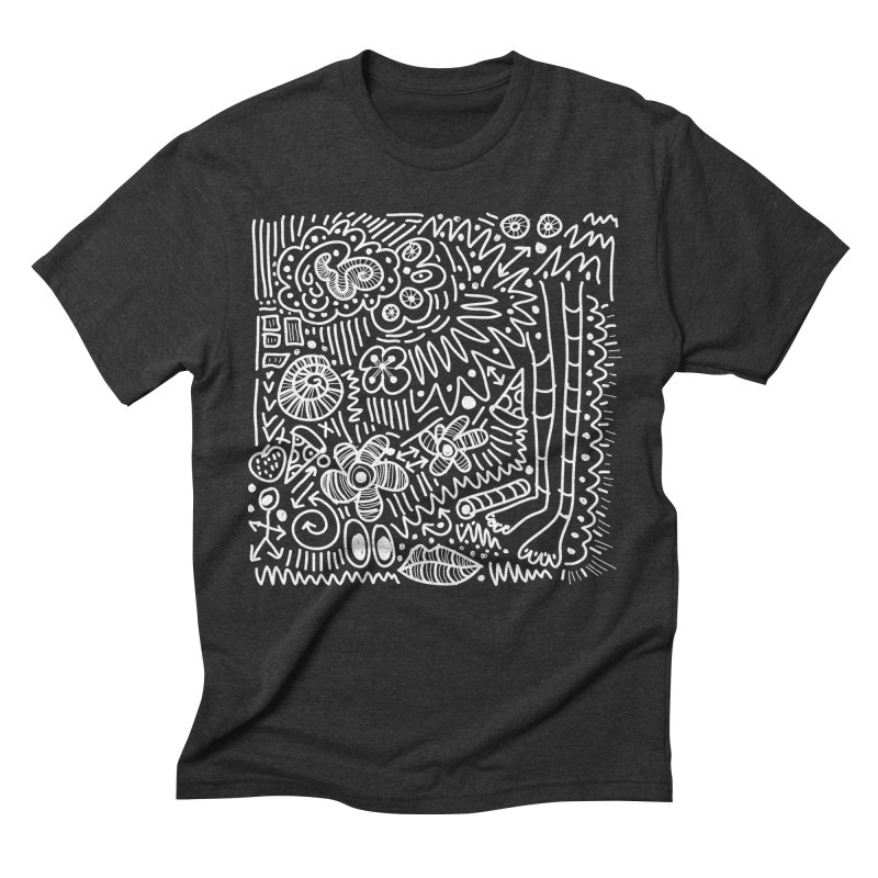 Doodle Therapy White in Men's Triblend T-Shirt Heather Onyx by heidig's Shop
