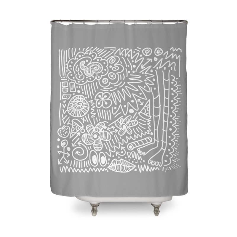 Doodle Therapy White Home Shower Curtain by heidig's Shop