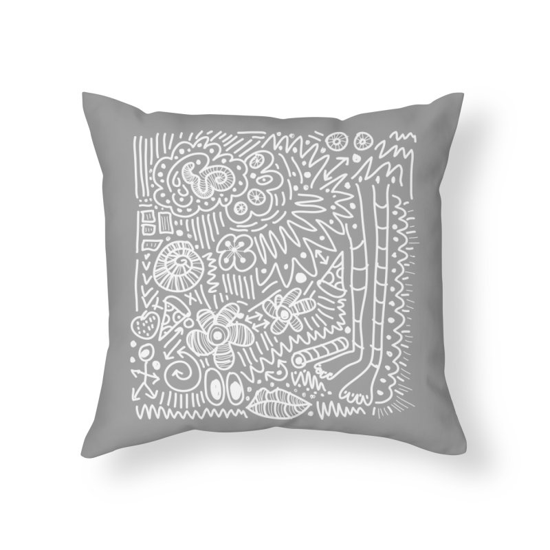 Doodle Therapy White Home Throw Pillow by heidig's Shop