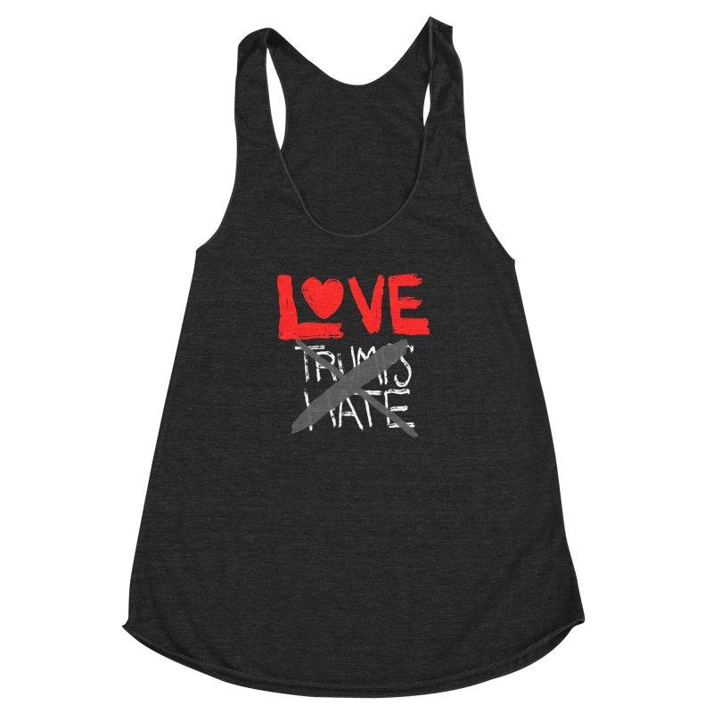 LOVE TRUMPS HATE Women's Racerback Triblend Tank by heidig's Shop