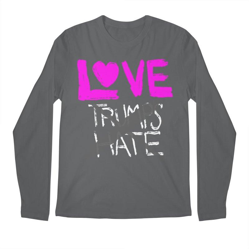 Love Trumps Hate Pink Men's Regular Longsleeve T-Shirt by heidig's Shop