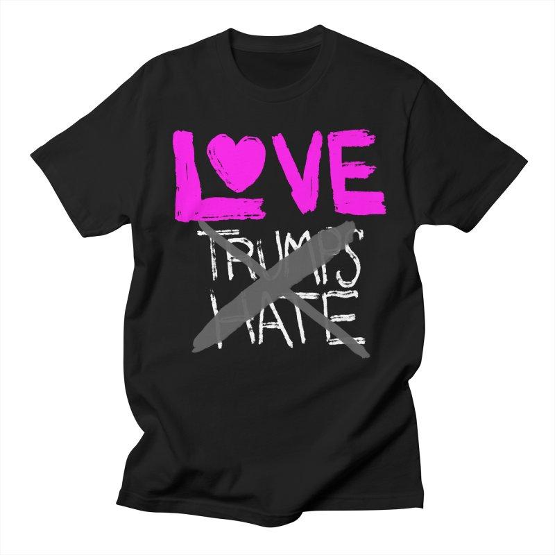 Love Trumps Hate Pink Men's Regular T-Shirt by heidig's Shop