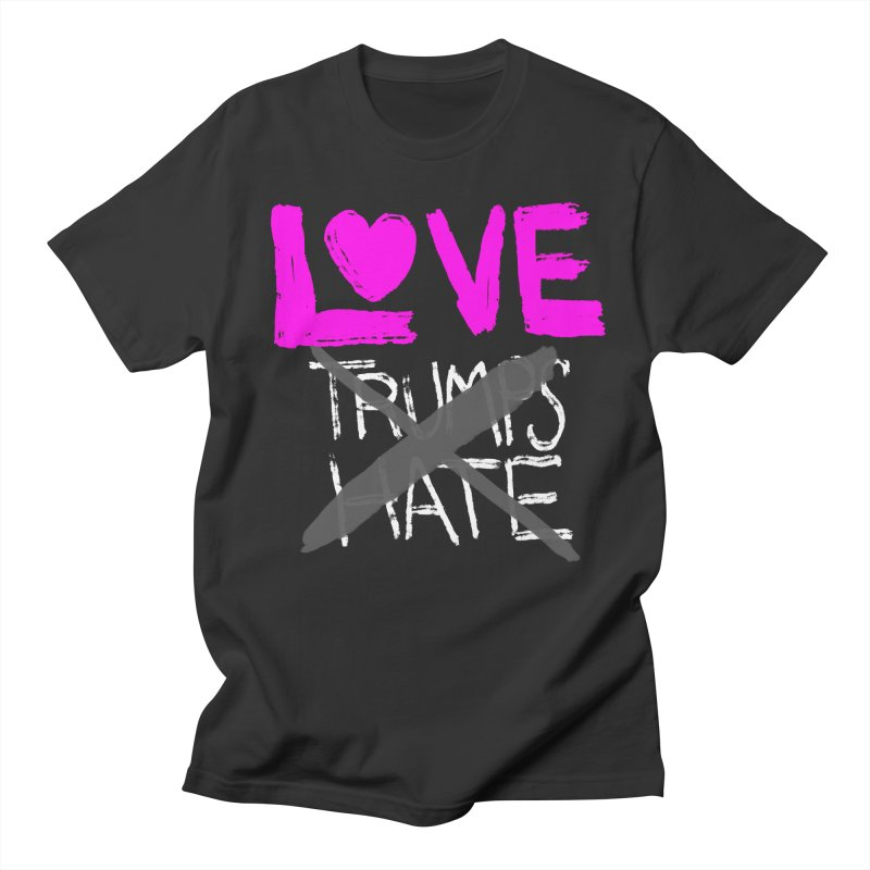 Love Trumps Hate Pink Men's Regular T-Shirt by heidig's Shop