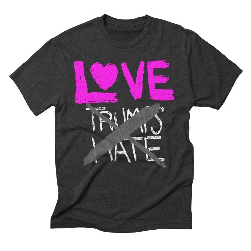 Love Trumps Hate Pink Men's Triblend T-Shirt by heidig's Shop