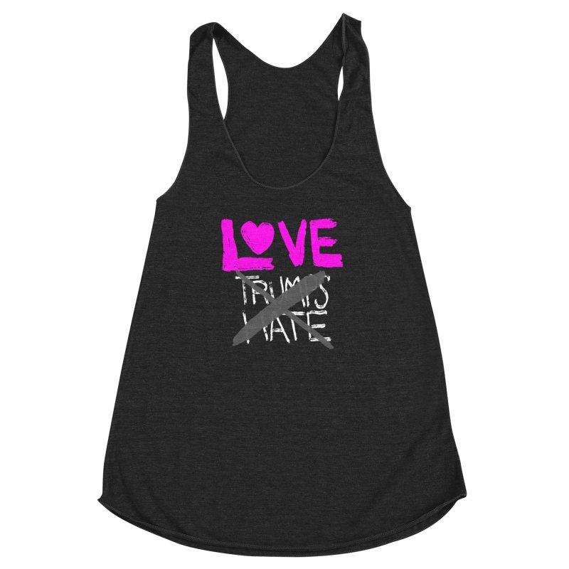 Love Trumps Hate Pink Women's Racerback Triblend Tank by heidig's Shop