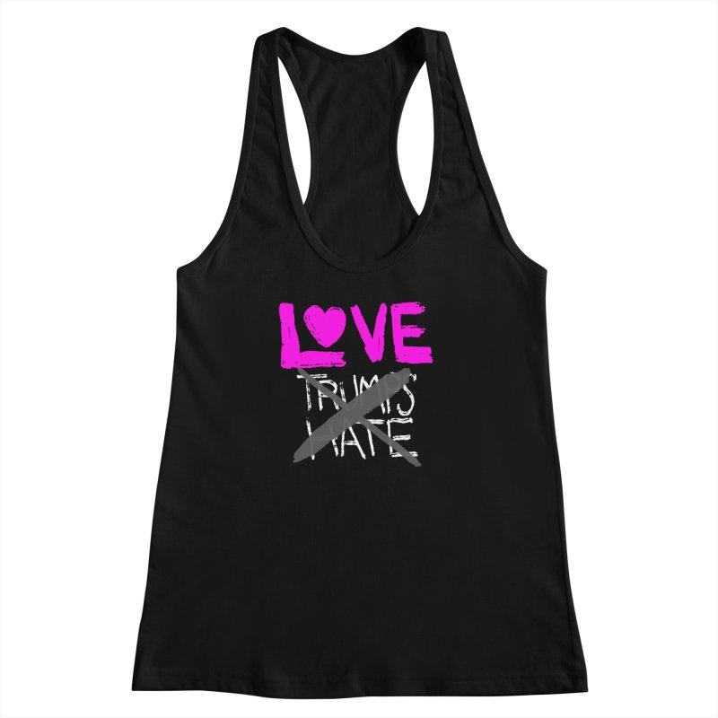 Love Trumps Hate Pink Women's Racerback Tank by heidig's Shop