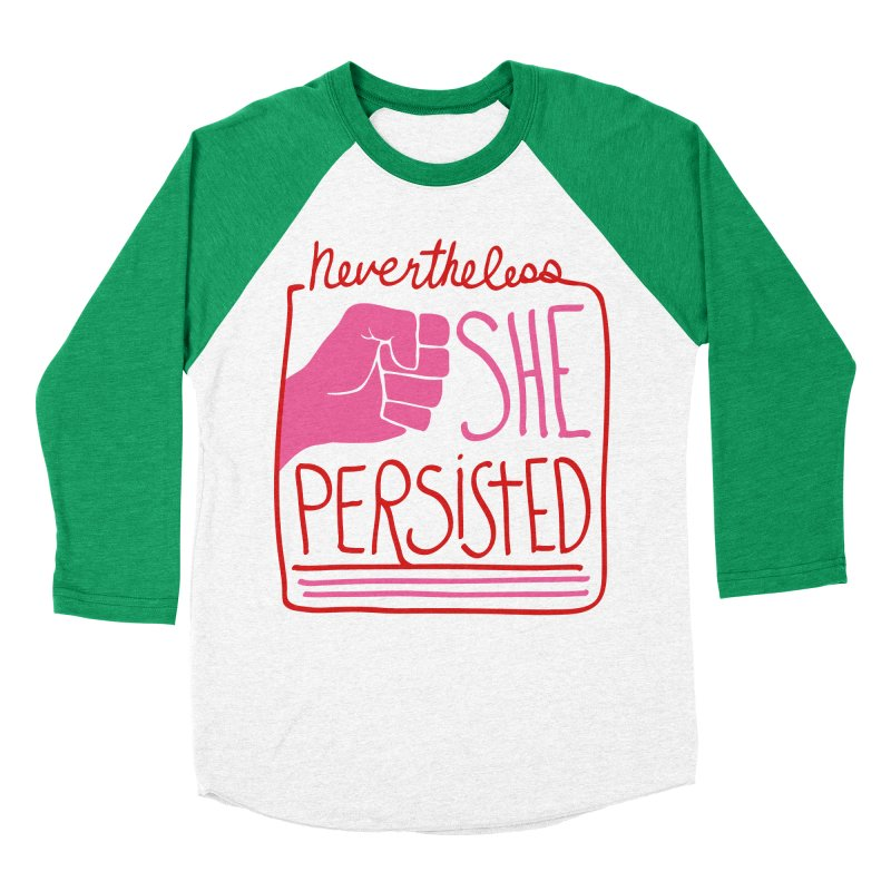 Nevertheless... RED & PINK in Women's Baseball Triblend Longsleeve T-Shirt Tri-Kelly Sleeves by heidig's Shop