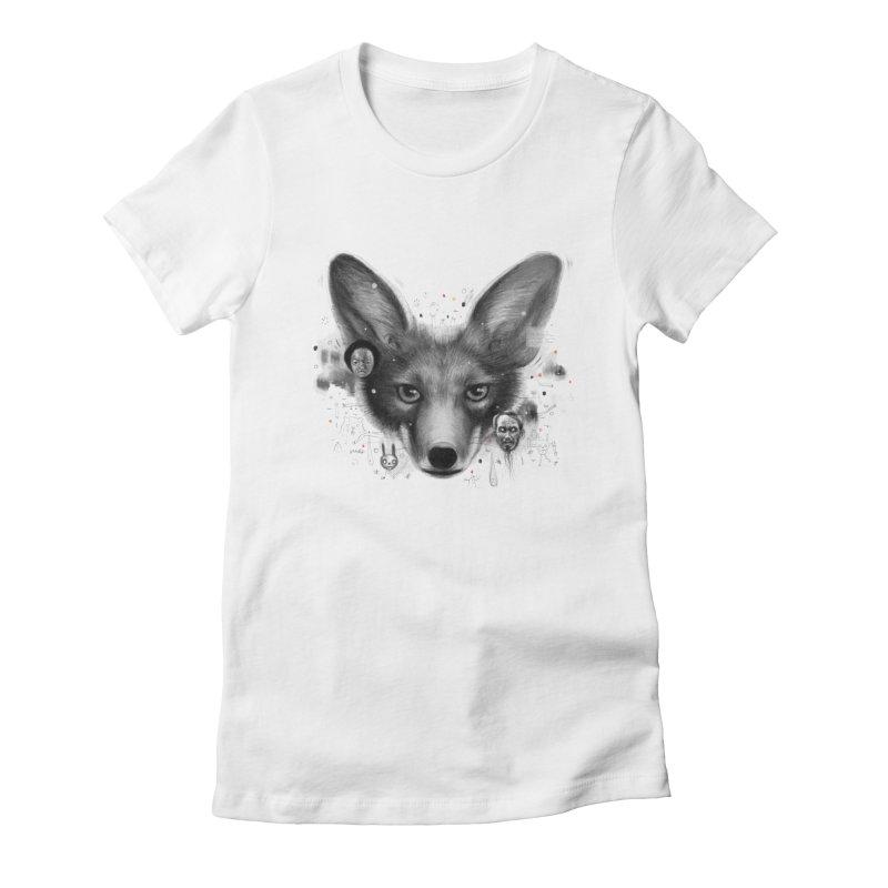 Little Fox Women's Fitted T-Shirt by Heiko Müller's Artist Shop