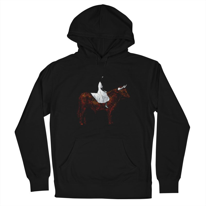 Bullrider Men's French Terry Pullover Hoody by Heiko Müller's Artist Shop