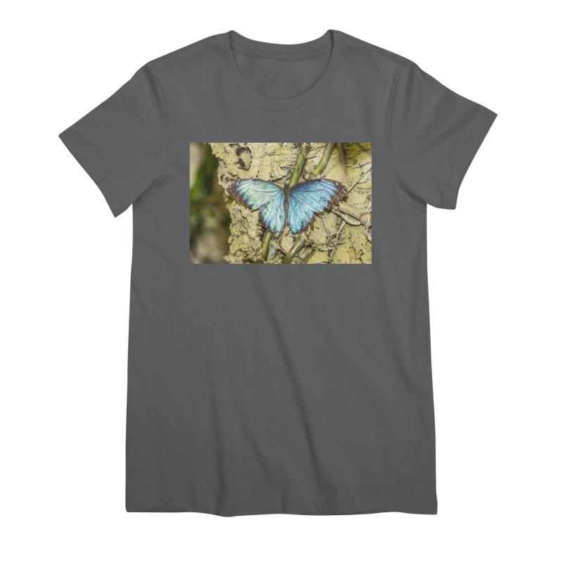 Blue shining butterfly on a tree Women's T-Shirt by heilimo's Artist Shop