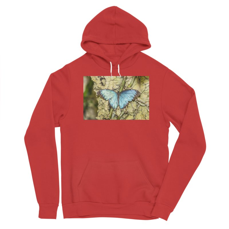 Blue shining butterfly on a tree Women's Pullover Hoody by heilimo's Artist Shop