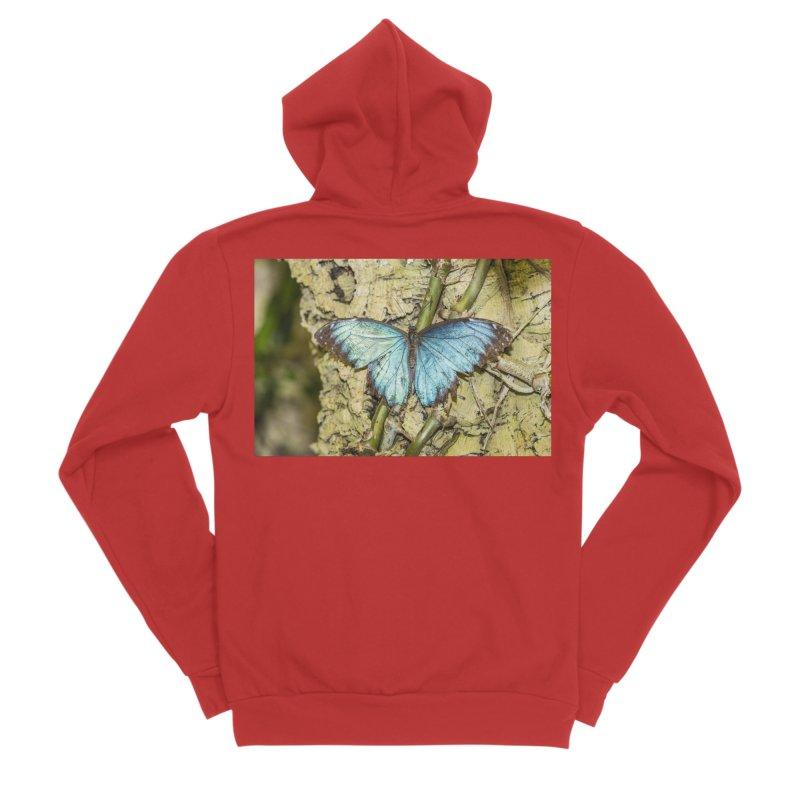Blue shining butterfly on a tree Men's Zip-Up Hoody by heilimo's Artist Shop