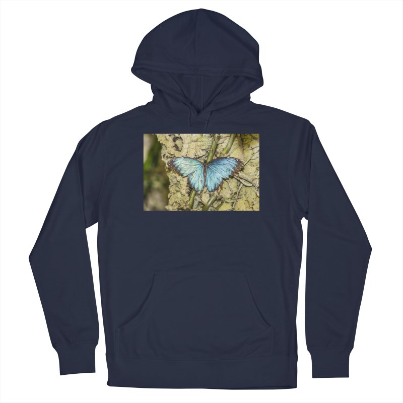 Blue shining butterfly on a tree Men's Pullover Hoody by heilimo's Artist Shop